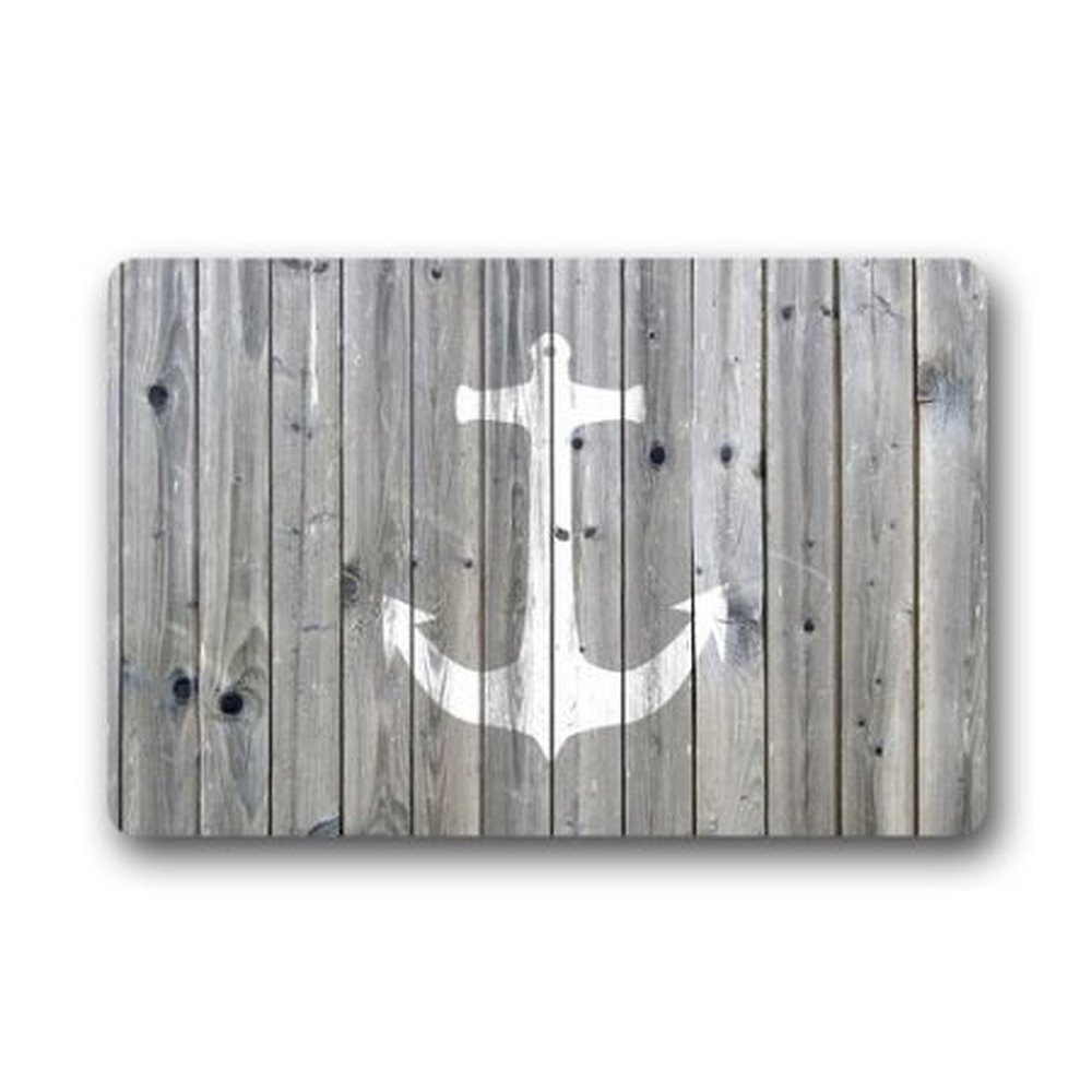 """Goodbath Funny Bath Mat Rugs - Vintage Wood and Nautical Anchor Non-Slip Rectangle Floor Entryways Outdoor Indoor Front Door Mat Carpet - 15.7""""x23.6"""" (Grey and White)"""