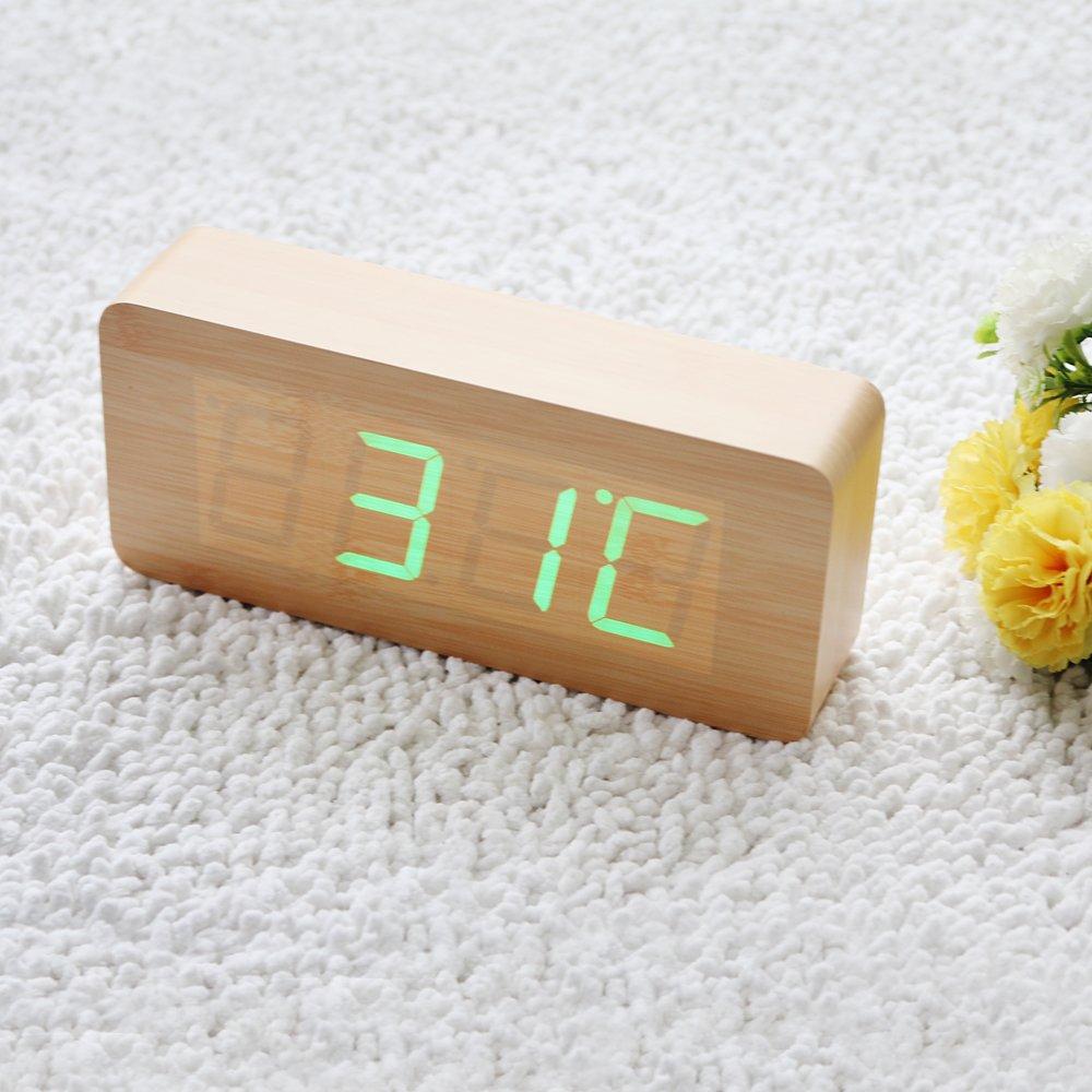 Uncategorized Wood Alarm Clock amazon com eiiox fashionable wood alarm clock time temperature date display sound control bamboo grain green led wi