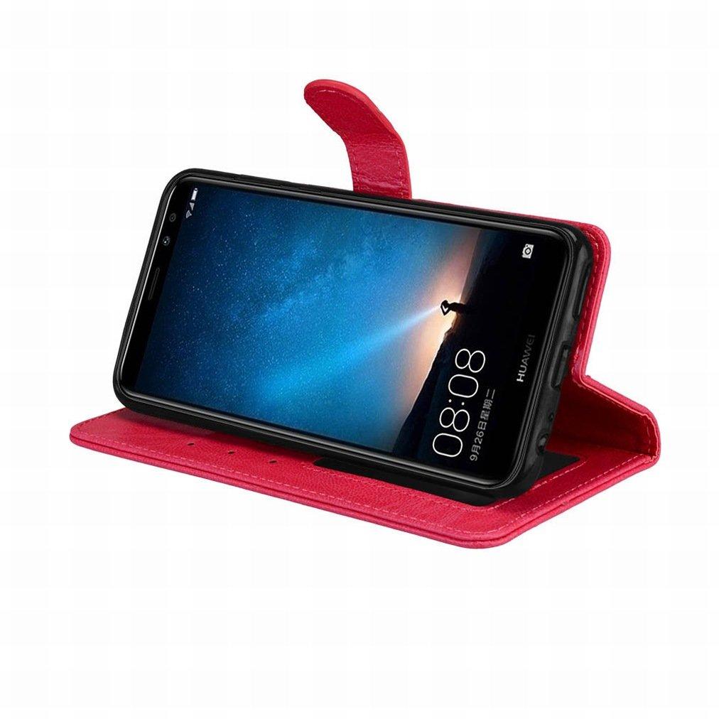 Housse Coque Etui pour Huawei Mate 10 Lite Cadre Photo Laybomo Coque Huawei Mate 10 Lite Etui Housse PU Cuir Pochette Portefeuille Coque Aimant Protecteur Doux tpu Cover Rouge