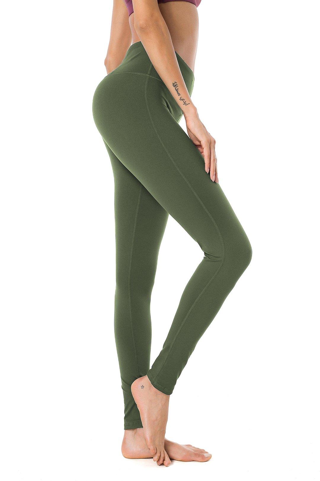 Queenie Ke Women Mid-Waist Hidden Pockets Sport Legging Yoga Pants Running Tights Size XS Color Army Green