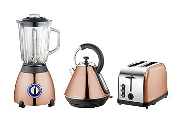 Hervidor eléctrico, tostadora y juego de batidora de vaso, acero inoxidable - Cobre: Amazon.es: Hogar