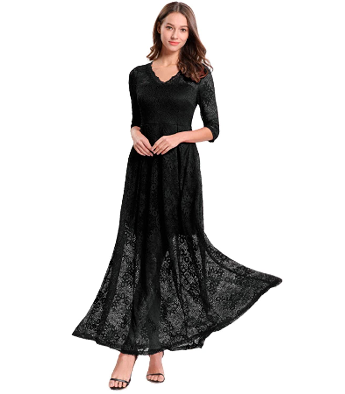 3dfbbf38832 Convallaria Women  s V- Neck Vintage Floral Lace Long Dresses with Half  Sleeve for Wedding Cocktail Evening Party at Amazon Women s Clothing store