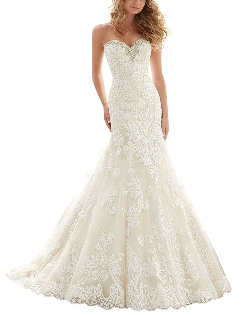AZNA Damen Schatzhals Nixe Spitze Hochzeitskleid Brautkleid