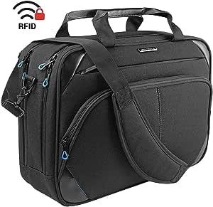 KROSER Laptop Bag 15.6 Inch Laptop Briefcase Laptop Messenger Bag Water Repellent Computer Case Laptop Shoulder Bag Durable Tablet Sleeve with RFID Pockets for Business/College/Women/Men-BlackBlue