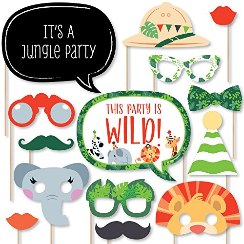 Jungle Party Animals - Safari Zoo Animal Birthday Party or Baby Shower Photo Booth Props Kit - 20 Count