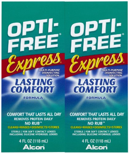 Lasting Opti-Free express Comfort Aucune Rub Multi Purpose Solution désinfectante-quatre onces, 2 pk