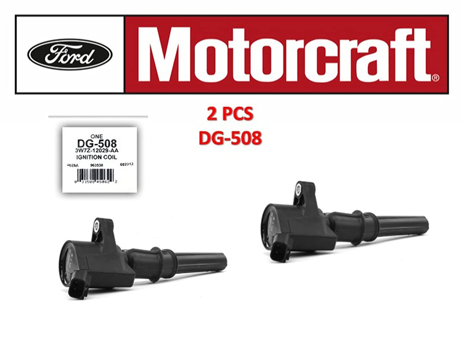 Motorcraft DG508 Ignition Coil for Ford 4.6L 5.4L V8 DG457 DG472 DG491 CROWN VICTORIA EXPEDITION F-150 F-250 MUSTANG LINCOLN MERCURY EXPLORER DG-508 3W7Z-12029-AA set of 2