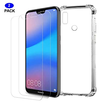 free shipping 7677b 918ed MISSDU replacement for Case HUAWEI P20 Lite Case Clear [2*Free Tempered  Glass Screen Protector], Shockproof Soft Flexible TPU Silicone Gel  Protective ...