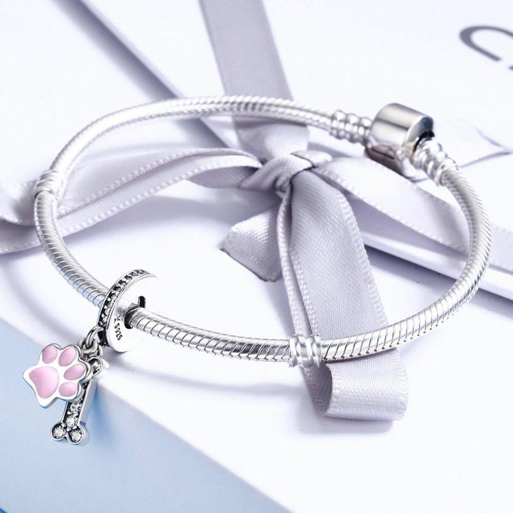 esmalte rosa y circonita clara plata de ley 925 regalo para el D/ía de la Madre abalorios para familia y mascotas Colgante con dise/ño de huellas de perro