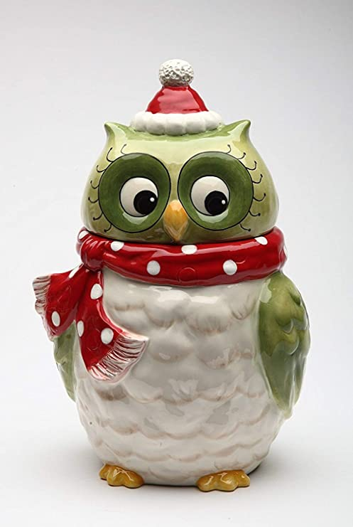Amazon Com Cosmos Gifts 10901 Christmas Owl Cookie Jar Kitchen
