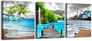 XF Canvas Wall Art for Living Room - 3 Pieces Black and White Beach Theme Nature Scenic Pictures Teal Blue Ocean Posters Prints Artwork for Bathroom Bedroom Office Wall Decor (12x16inx3)