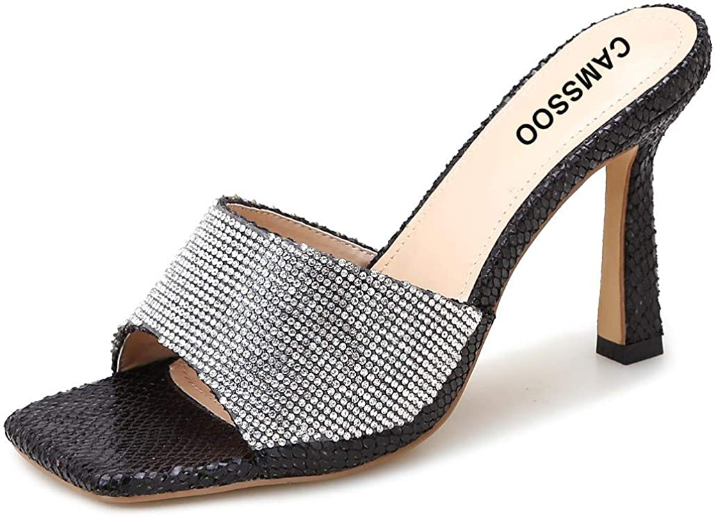 CAMSSOO Women's Wide Square Toe Heels