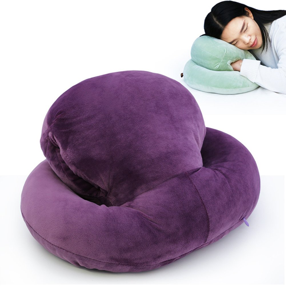feierna Nap Sleeping Pillow Feather Fabric Napping Rest Travel Back Cushion Double Layer Head Student Office Pillow with Arm Support Four Seasons Universal (Purple)