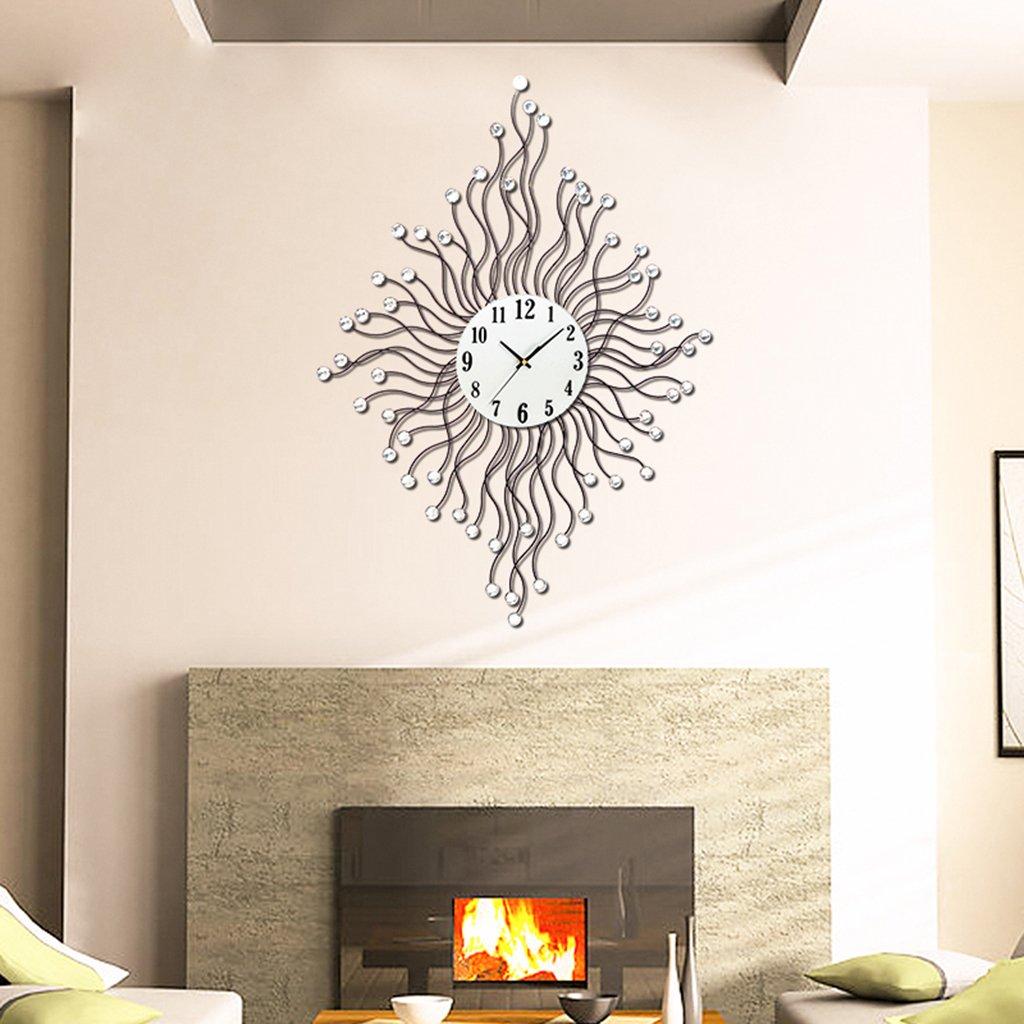 ポストモダンの壁時計、Natood 北欧シンプルなタンポポモデリング壁時計リビングルームミュート壁時計アクリルダイヤモンド、63 * 85Cm、黒、電池なし B07D5CBGZD