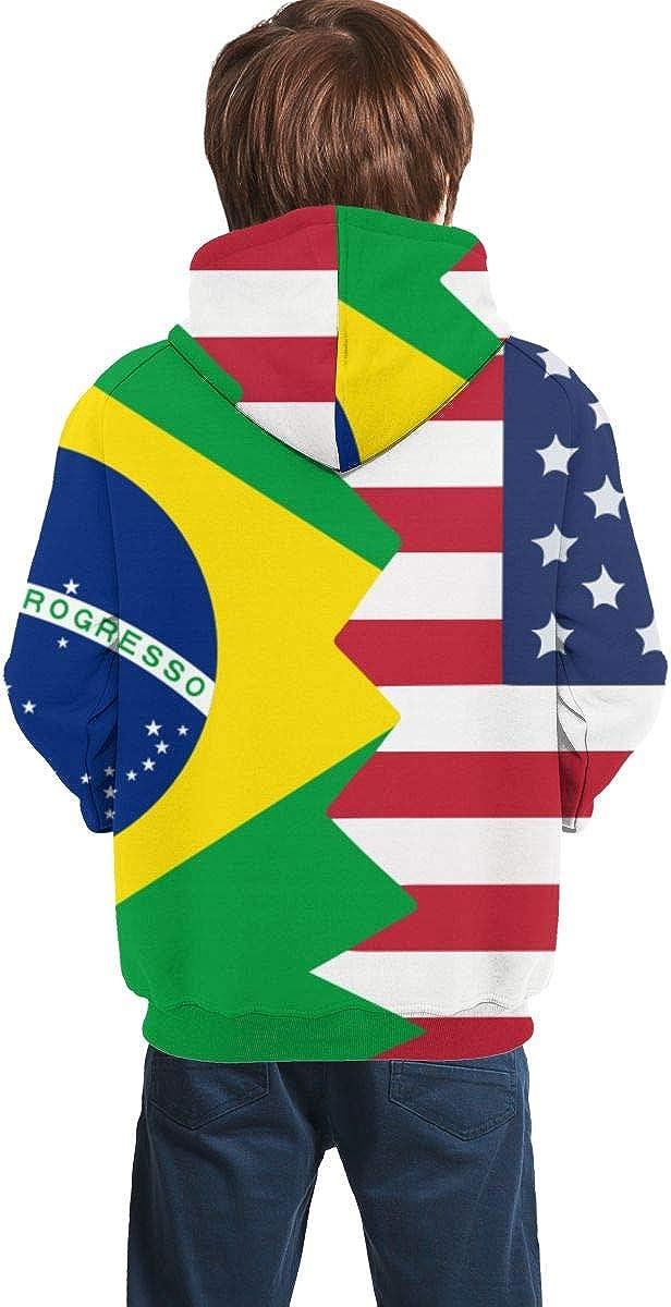 MAOYI/&J6 Brazil USA Flag Unisex Teen Boys Girls Long Sleeve Hoodie Outerwears for Winter Sweatshirt