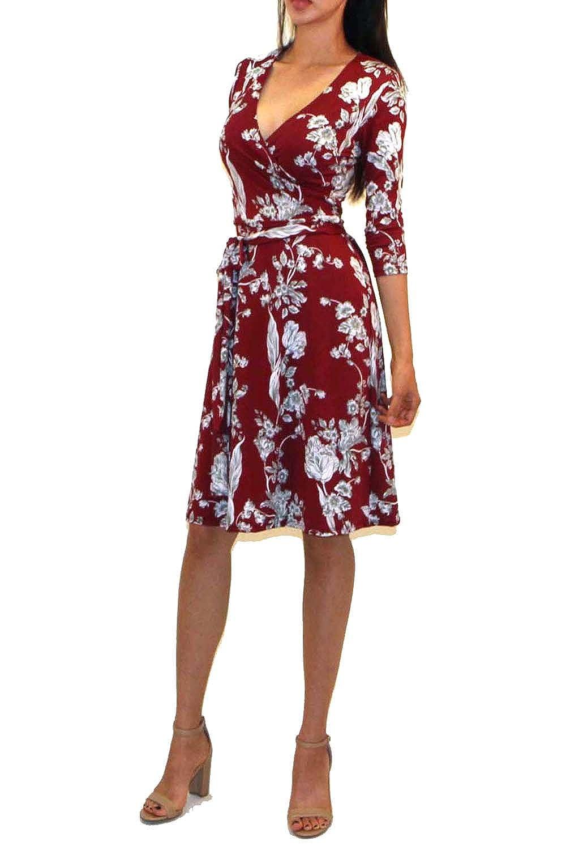 319b260a079 Vivicastle Women s USA Printed V-Neck 3 4 Sleeve Faux Wrap Waist Tie Midi  Dress at Amazon Women s Clothing store