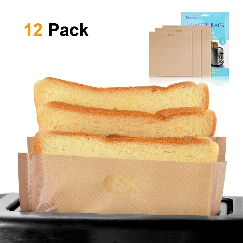 softeen Toaster Bags Reusable Pack of 12 in 3 Different Sizes, Non Stick Toaster Bags for Grilled Cheese Sandwiches, Toaster Bags Gluten Free, FDA and SGS Approved, Made of Premium Quality Teflon by softeen