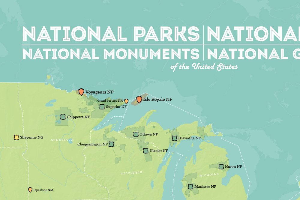 Amazoncom US National Parks Monuments  Forests Map 24x36