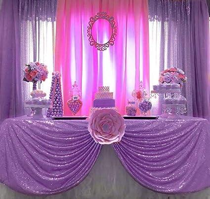 Amazon Queendream Glitter Tablecloth 50x80 Lavender Sequin