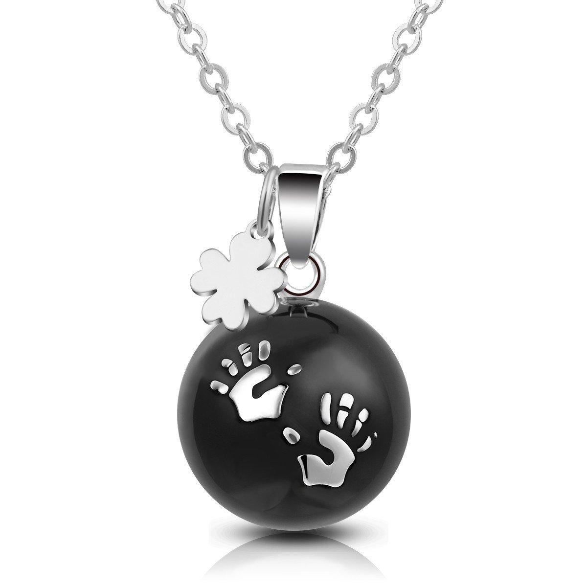 EUDORA Harmony Ball Soft Chiming Maternity Clover Charm Necklace 20mm Handprint Mexican Bola 45'' Chain