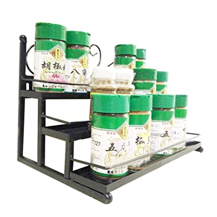 3 Tier Cabinet Spice Rack Organizer Step Shelf Storage Iron Black Width 11  Inches   Can