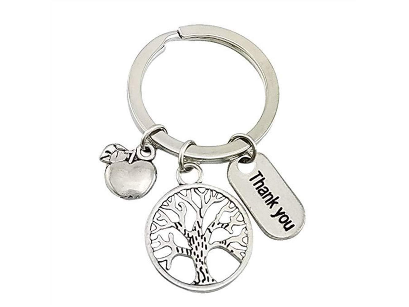 JKHGJUH Teacher's Day Geschenk Danke Apfelbaum Anhänger Schlüsselanhänger für Autoschlüssel Handtasche Tasche Schlüsselanhänger Geschenk (Silber)
