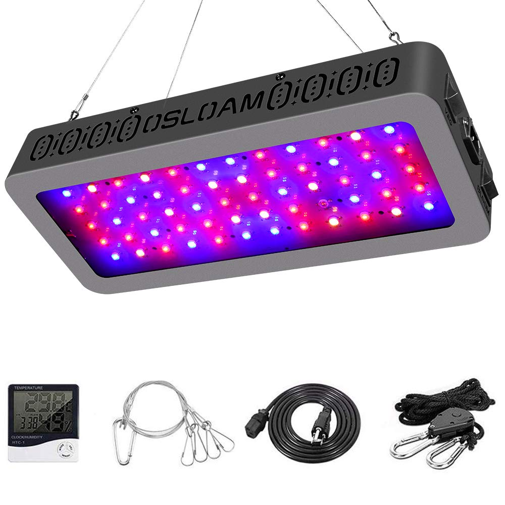 Grow Light OSLOAM Newest 600W LED Plant Grow Light Full Spectrum Double Switch Plant Light for Indoor Plants Veg and Flower, with Thermometer Humidity Monitor Adjustable Rope