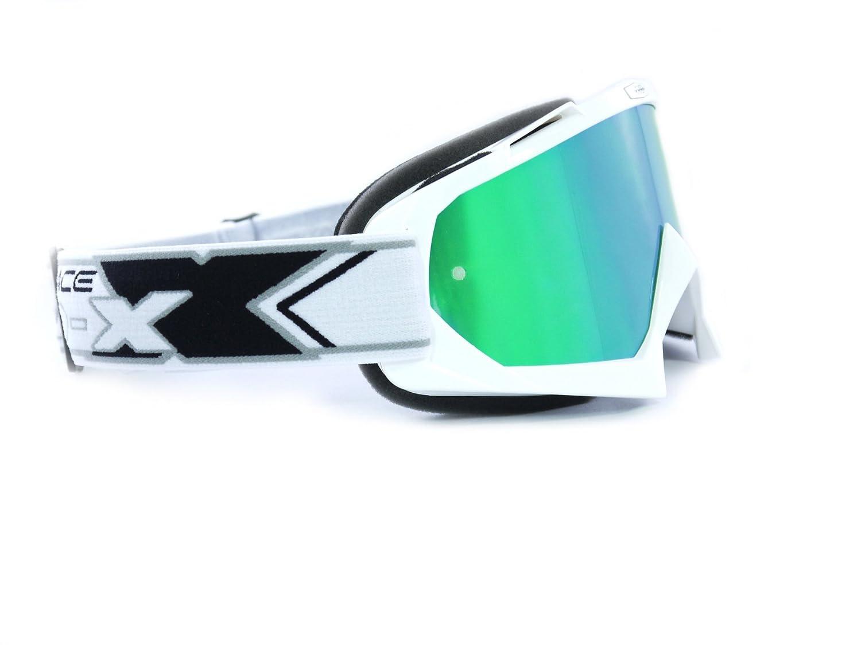 TWO-X Race Crossbrille gelb Glas verspiegelt gr/ün MX Brille Motocross Enduro Spiegelglas Motorradbrille Anti Scratch MX Schutzbrille