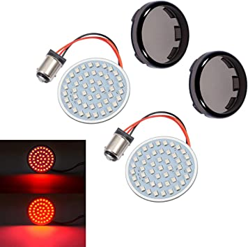 PBYMT 1157 Rear Turn Signal Light LED SMD Bulb with 2 Inches Bullet Smoke Lens Cover Compatible for Harley Sporster Dyna Touring Road King Street Electra Glide 1986-2020