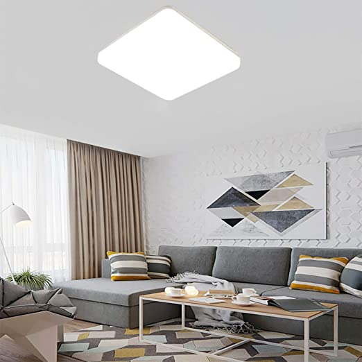Plafón LED 18W Lámpara LED de Techo Moderno Blanco Natural 4000K Luz de Techo Cuadrado delgada 1500LM Impermeable IP44 para Sala de Estar Dormitorio ...