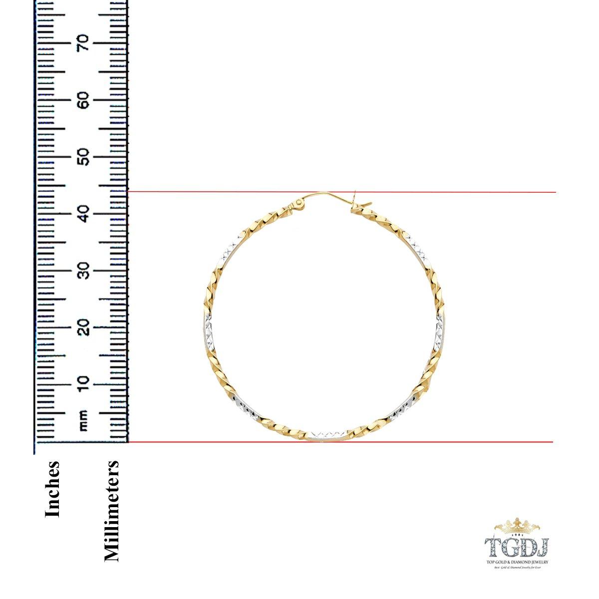 Diameter - 44 MM TGDJ 14K Yellow White Curled Hoop Earrings