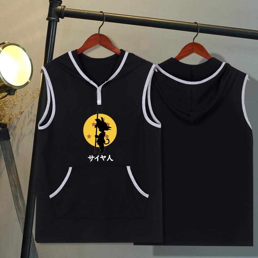 Fistyle Unisex Anime Dragon Ball Print Jacket Mens Tank Top Sweatshirt Z Goku Sleeveless