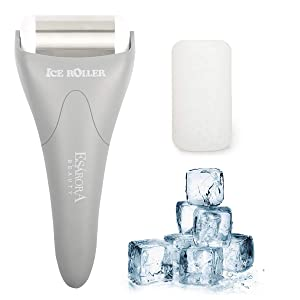 Ice Roller, ESARORA Ice Roller for Face & Eye, Puffiness, Migraine, Pain Relief and Minor Injury, Skin Care Products with 2 Roller (1 Plastic Roller & 1 Stainless Steel Roller)