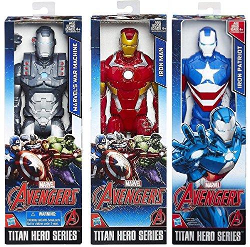 "Marvel Figures 3-Pack Avengers Iron Patriot & Iron Man & War Machine Armored Pack Titan Hero Series Marvel 12"" Super Hero Action Big Figure Set"