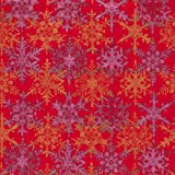 Caspari Snowfall 9-Foot Christmas Wrapping Paper Roll, Red/Gold/Fuschia