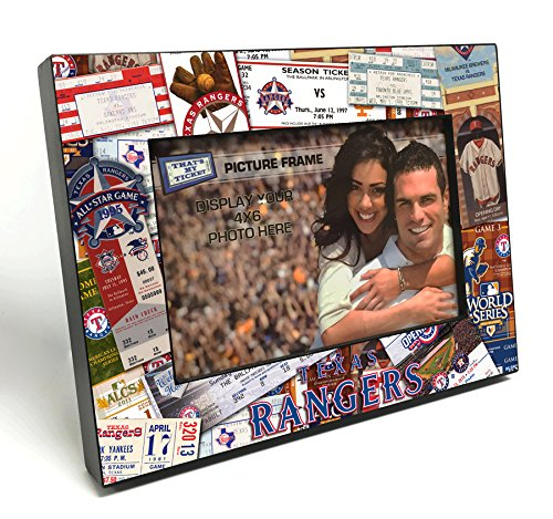 MLB Texas Rangers Wooden Ticket Collage Picture Frame, Black, 4 x 6