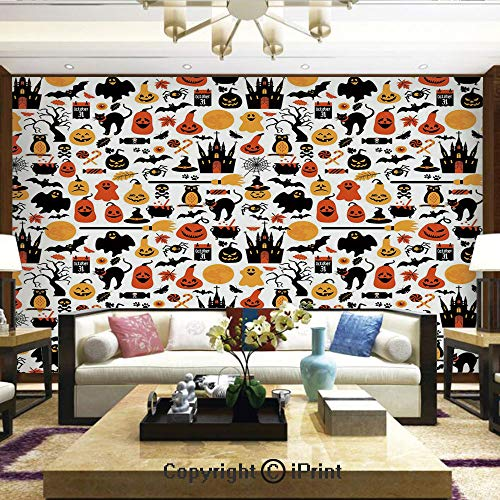 Lionpapa_mural Wall Mural Showing All They Beauty Extremely Detailed Image, Halloween Icons Collection Candies Owls Castles Ghosts October 31 Theme Decorative,Home Decor - 66x96 inches -