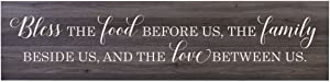 "LifeSong Milestones Bless The Food Before Us Family Wooden Sign for Living Room, entryway, Kitchen, or Bedroom Housewarming Wall Decor Gift 10"" x 40"" (Bless The Food)"