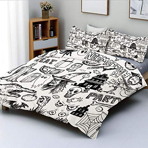 (Duplex Print Duvet Cover Set Queen Size,Hand Drawn Halloween Doodle Trick or Treat Knife Party Severed Hand DecorativeDecorative 3 Piece Bedding Set with 2 Pillow Sham,Black White,Best Gift For Kids)