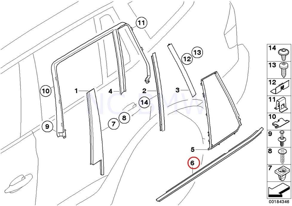 BMW Genuine Rear Left Door Outer Weatherstrip