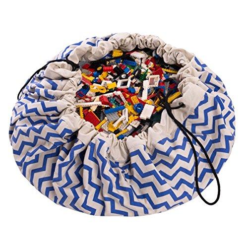 Play and Go 2-in-1, Spielzeugsack und Spieldecke in Blau mit ZickZack-Muster