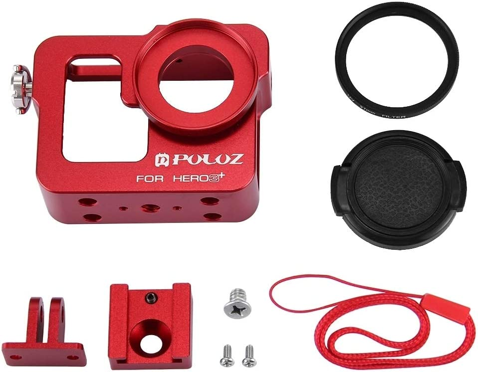 //3 Black Color : Red MEETBM ZIMO,Housing Shell CNC Aluminum Alloy Protective Cage with 37mm UV Lens Filter /& Lens Cap for GoPro HERO3