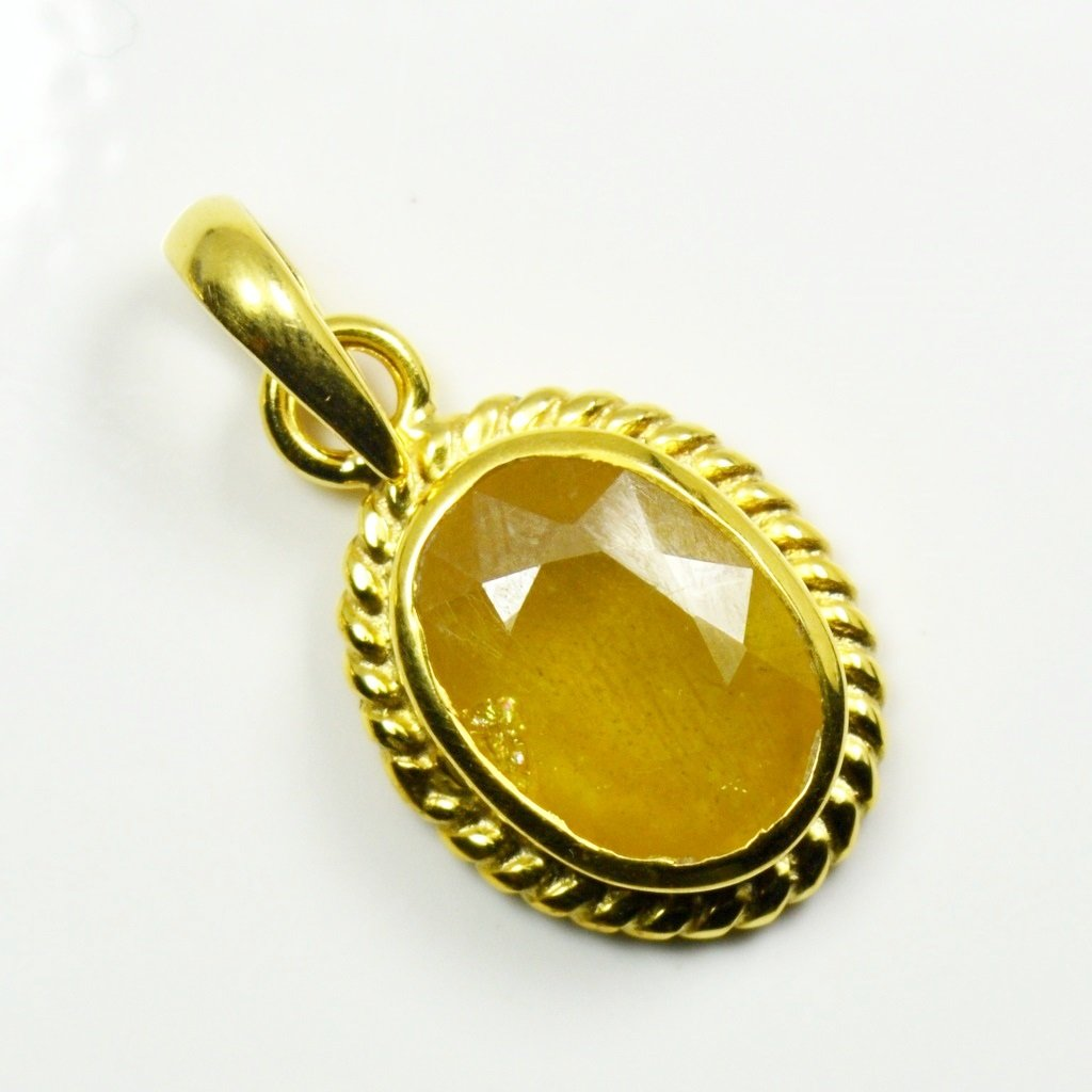 Jewelryonclick Genuine Oval Yellow Sapphire 6 carat Copper Gold Plated Birthstone Pendant Charms