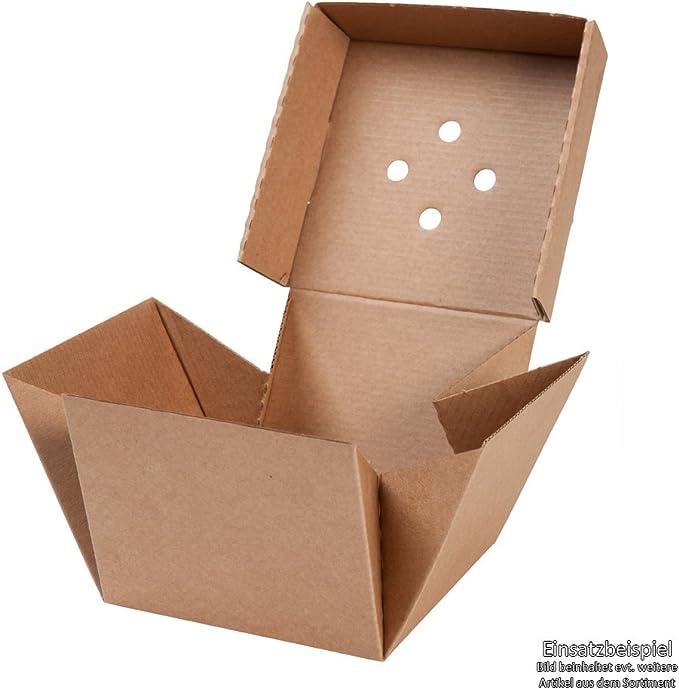 BIOZOYG 100x Burger-Box con Tapa Plegable I Bio cartón compostables Embalaje para Hamburguesa cartón Kraft con Agujero I Estable para Embalaje To Go cartón marrón 13x13x10cm, Cuadrado: Amazon.es: Hogar