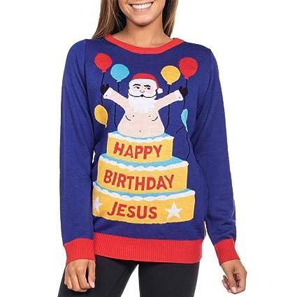 Camiseta de Manga Larga con Estampado de Pastel de Papá Noel LILICAT® Mujeres de Navidad