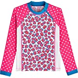 Coolibar UPF 50+ Girls' Zippy Rash Guard - Sun Protective (Small- Aloha Pink/White Watercolor Floral)