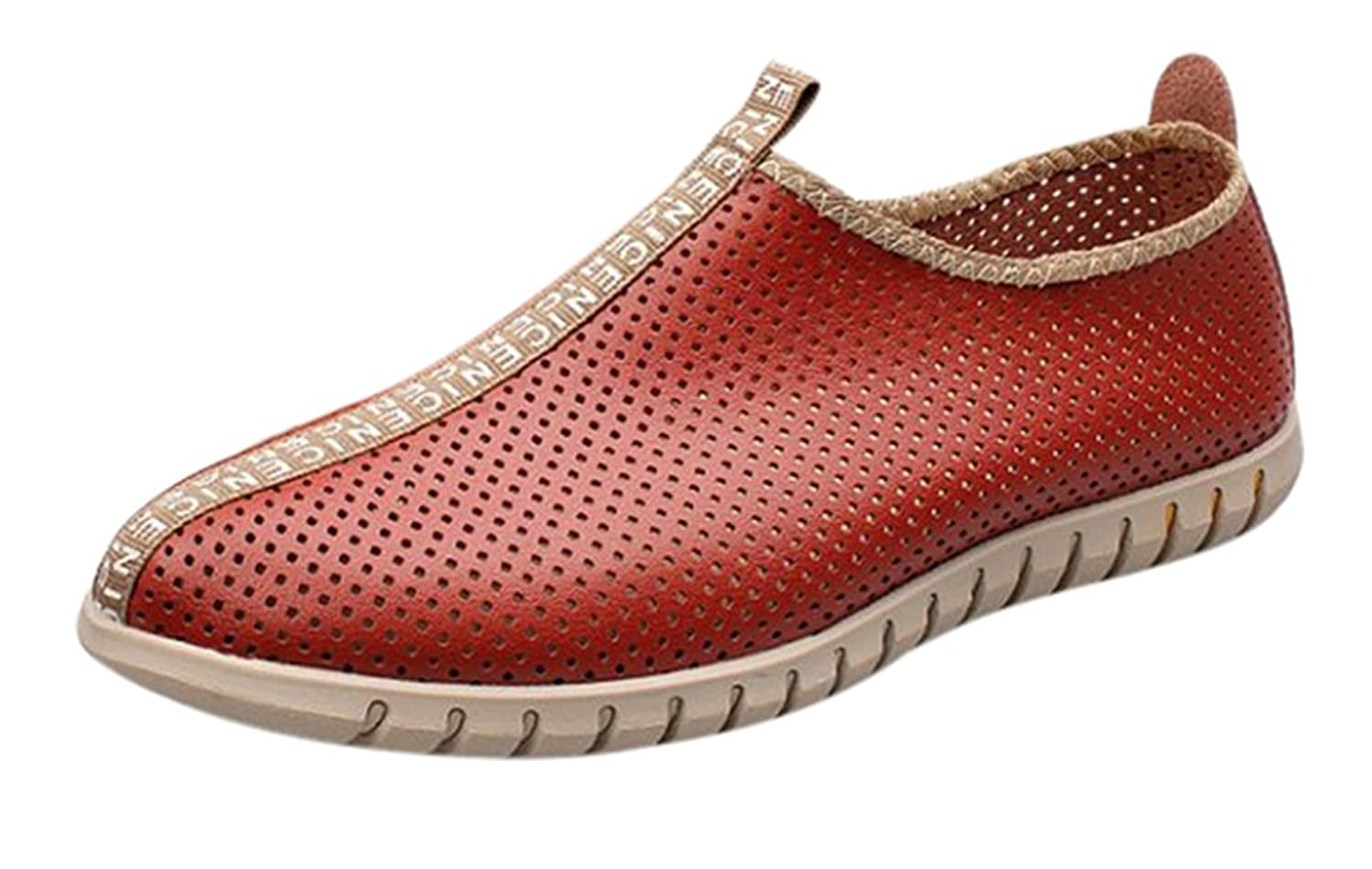 Fansela(TM) Men's Hollow Breathable Perforated PU LeatherBeach Shoes Size 7.5 Red