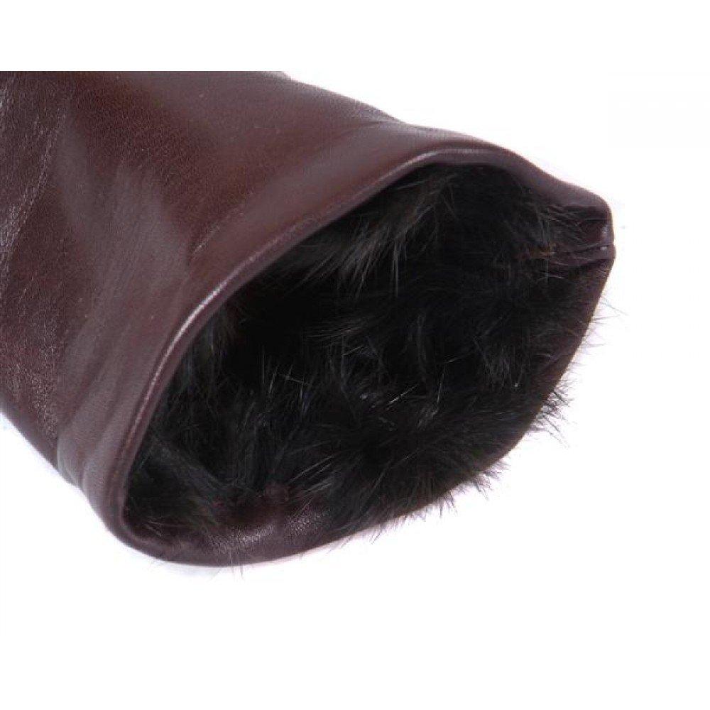 SAGEBROWN Brown Ladies Fur Lined Gloves by Sage Brown (Image #4)