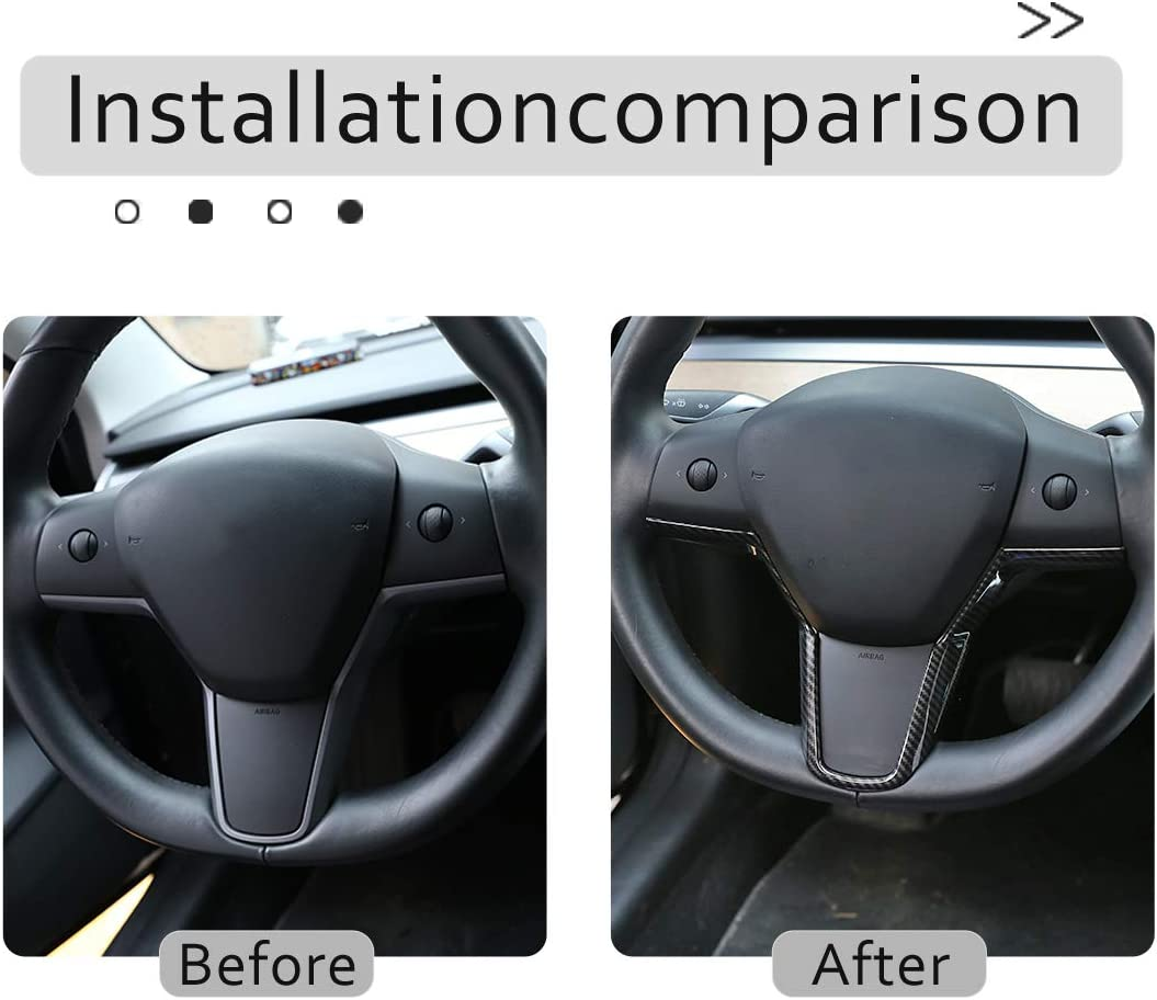 for Tesla Model 3 Steering Wheel Sequins Interior Modification Steering Wheel V-Decorative Sequins Black