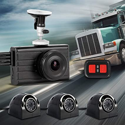 "4 /"" Full HD 1080P Car DVR Dash Cam with Rear View Cameras Recorde 3 Triple Lens"
